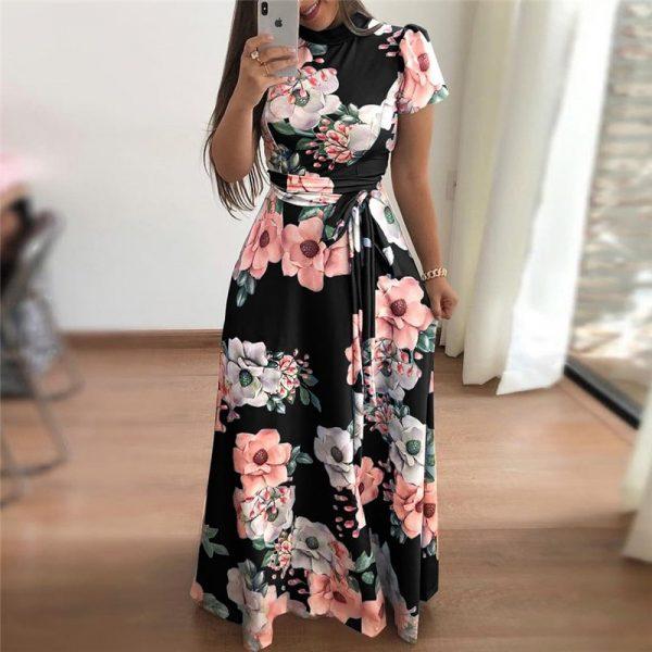 Short Sleeve Long Dress Boho Floral Print Maxi Dress
