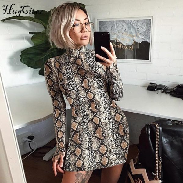 Snake Skin Dress Women Sexy Bodycon Mini Dresses