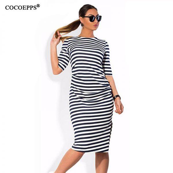 Striped Women Dresses Knee-Length Dress