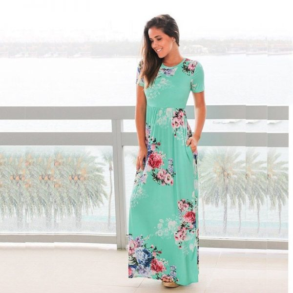 Summer Long Dress Floral Print Boho Maxi Dress