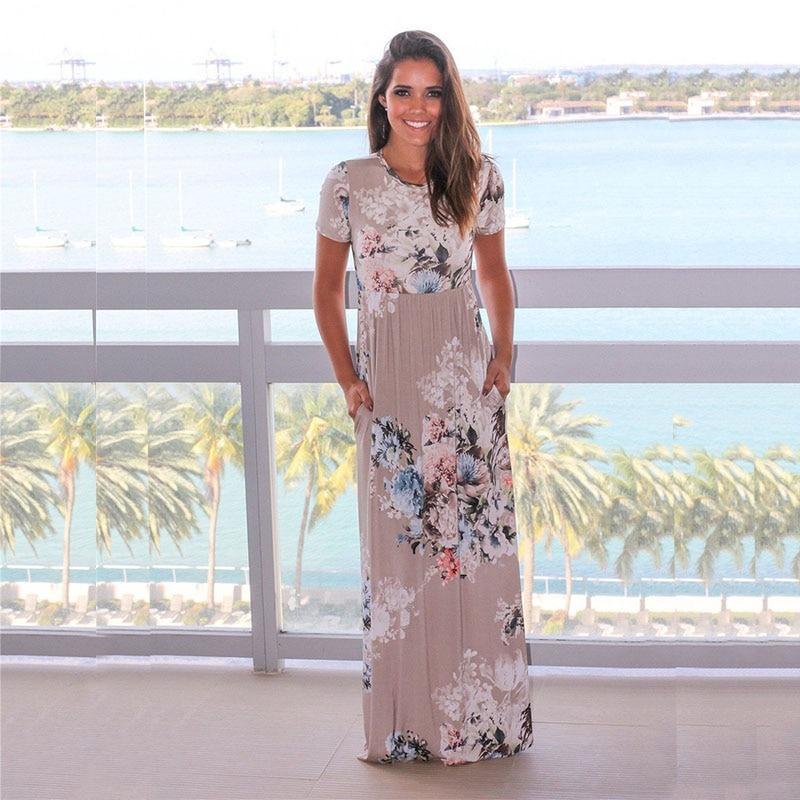 Summer Long Dress Floral Print Boho Maxi Dress