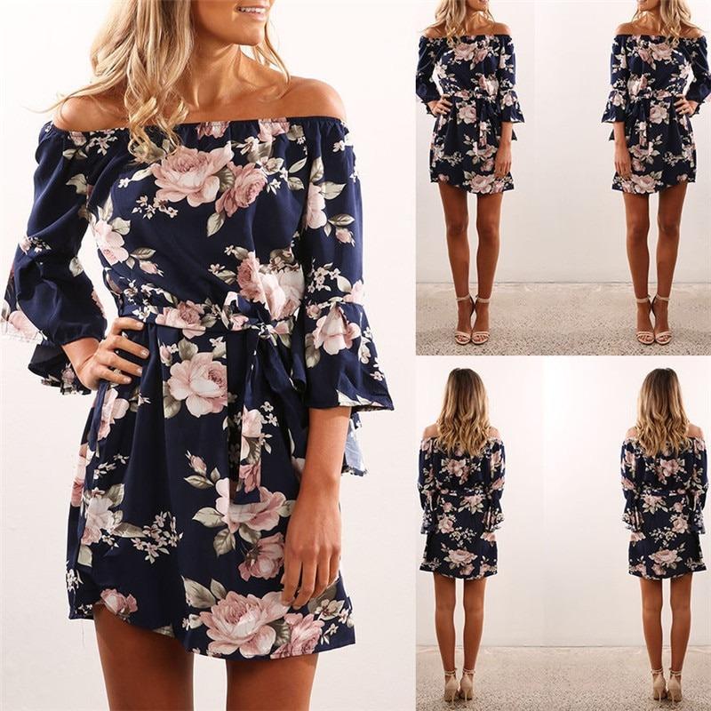 Summer Sexy Off Shoulder Floral Print Chiffon Dress