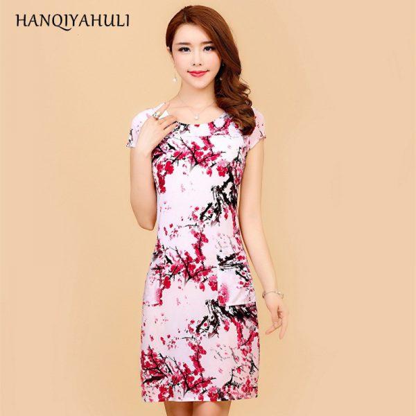 Summer Style Dresses Slim Tunic Milk Silk Print