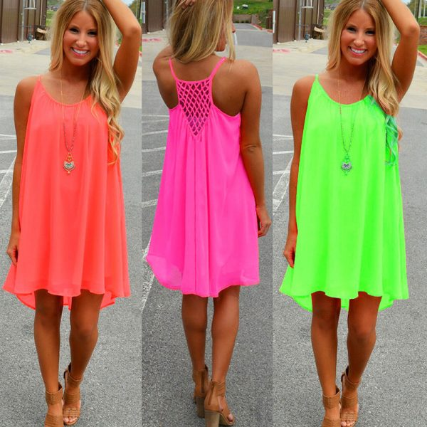 Women Beach Dress Fluorescence Summer Dress