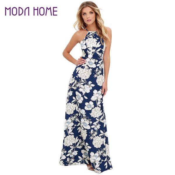 Women Maxi Boho Dress Halter Neck Summer Dress