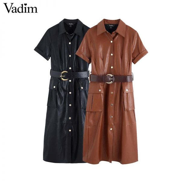 Women PU Leather Midi Dress
