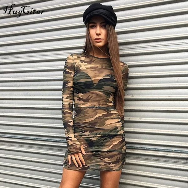 Camouflage Mesh Bodycon Dress Party Mini Dresses