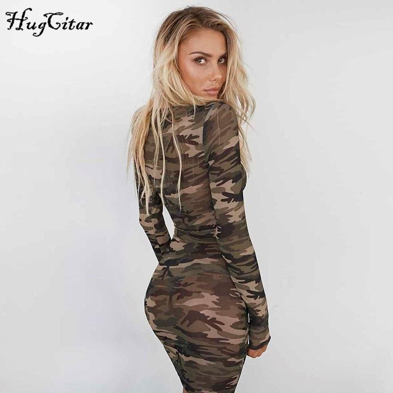 Camouflage Mesh Bodycon Dress Party Mini Dresses