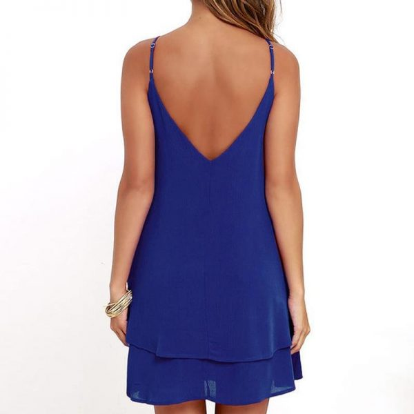 Summer Backless Chiffon Dress Women Sexy Sleeveless