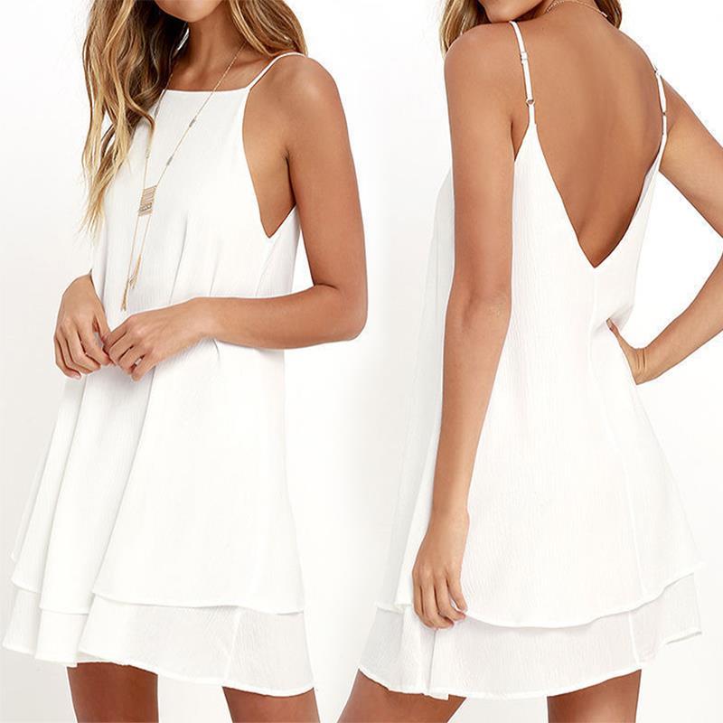 Summer Backless Chiffon Dress Women Sexy Sleeveless
