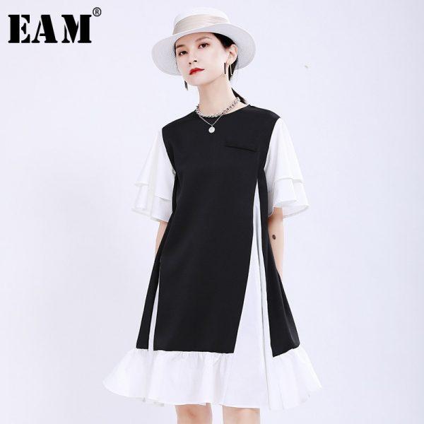 Women Black Contrast Dress