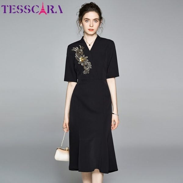 Women Elegant Embroidery Dress