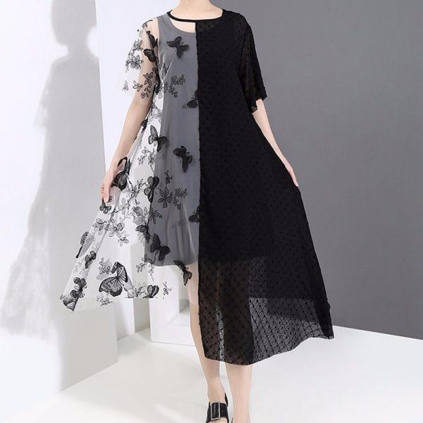 Women Mesh Patchwork Dress