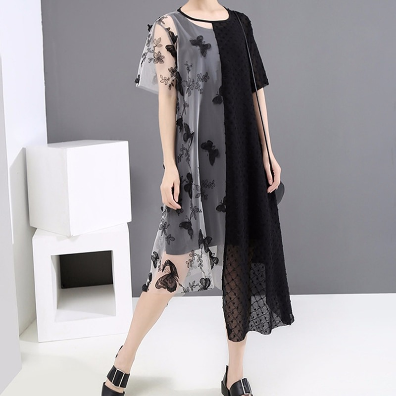 Women Mesh Patchwork Dress