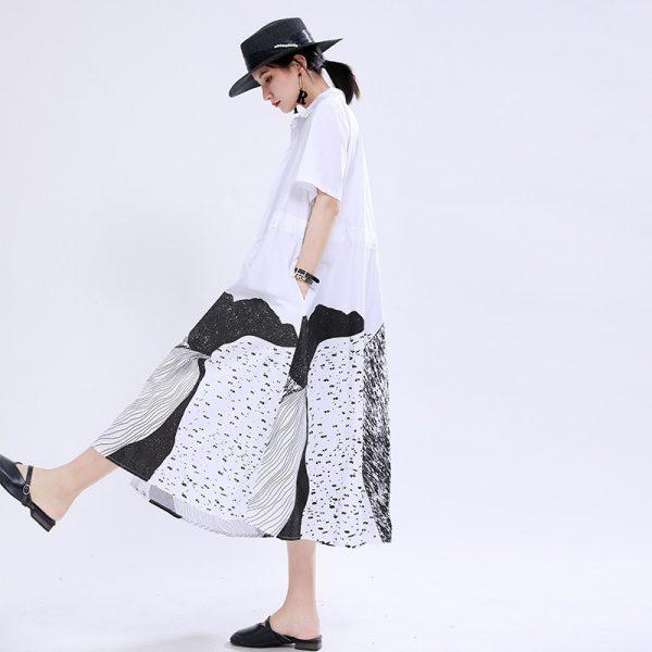 Printed Drawstring Shirt Dress