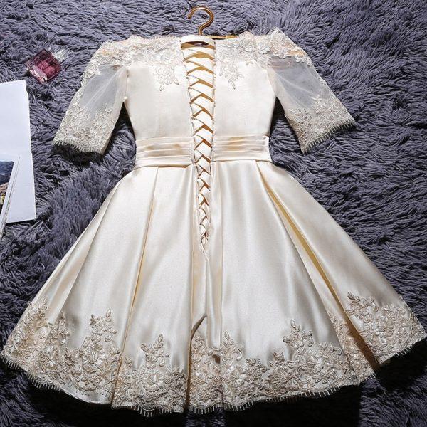 Satin Half Sleeve Gown
