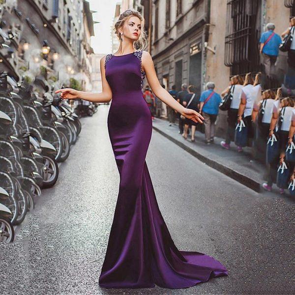 Scoop Sleeveless Evening Dress