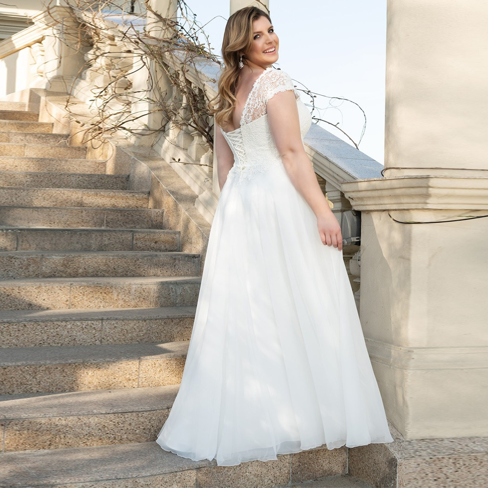 V Neck Corset Bridal Gown