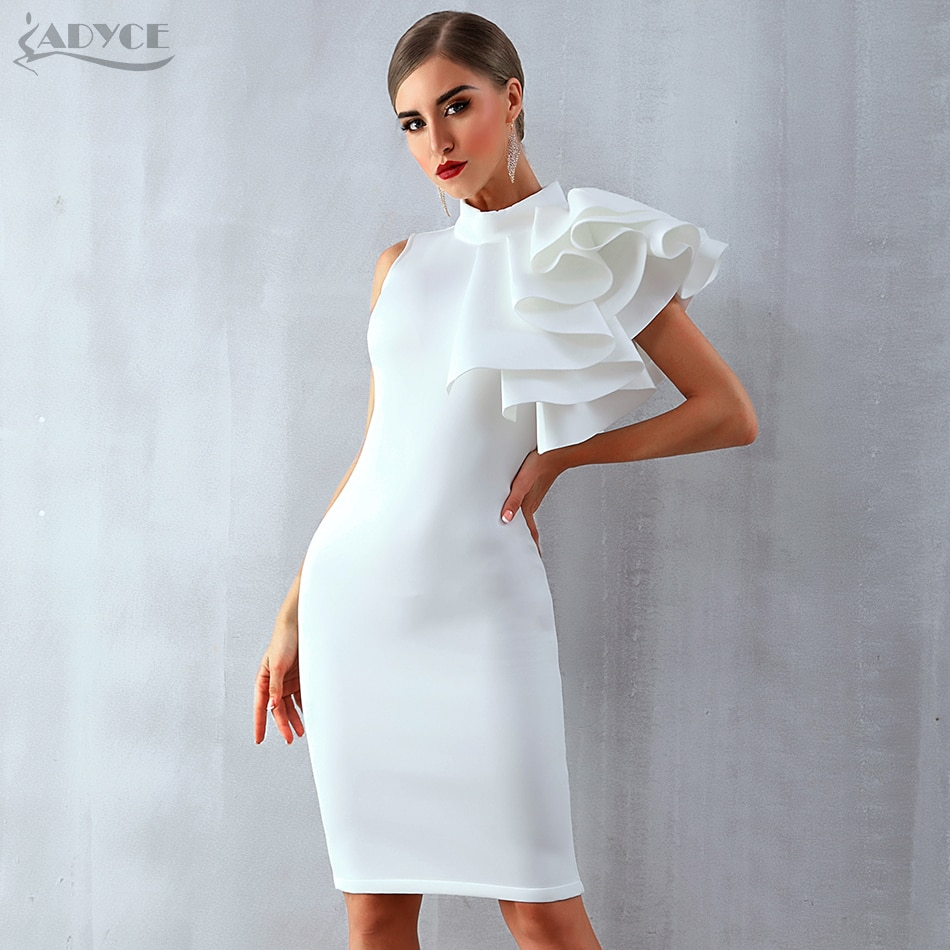 Celebrity Party Dress Sexy Sleeveless Ruffles Club Dresses