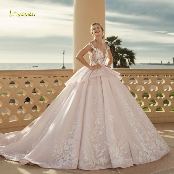 Sexy Tiered Lace Ball Gown