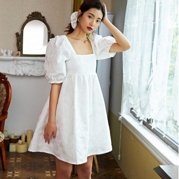 White Dobby Backless Dress