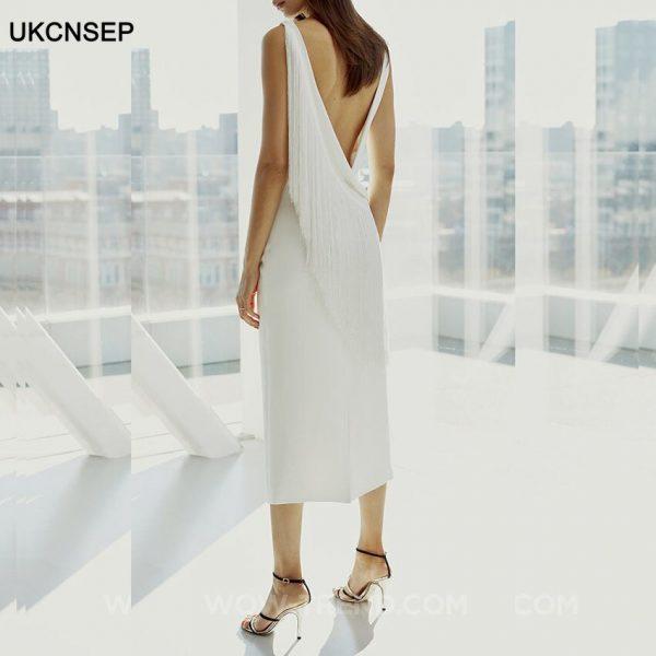 White Tassel Backless Dress