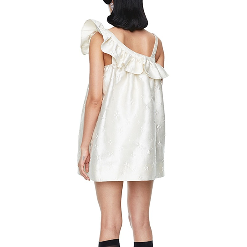 Asymmetrical Patchwork Ruffle Dress