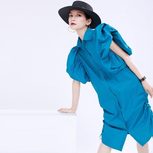 Drawstring Pleated Shirt Dress