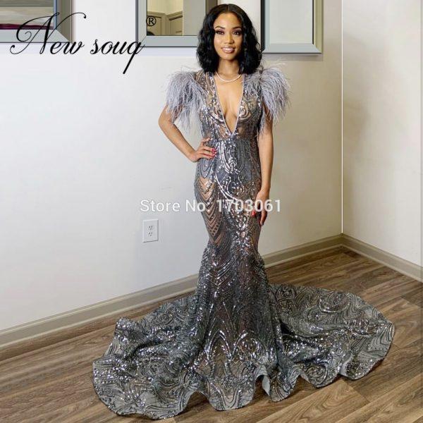 Dubai Feathers Prom Dress