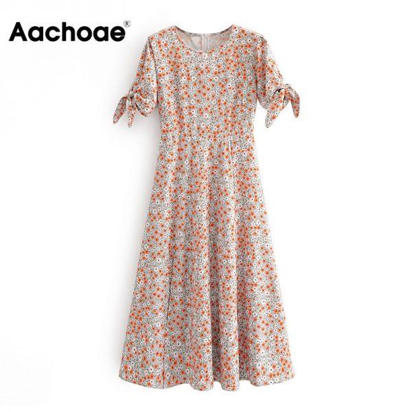 Floral Print Split Dress