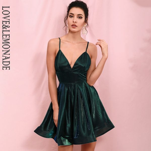 Green V-Neck Backless Dress