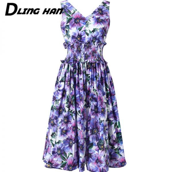 Rose Print Cotton Dress