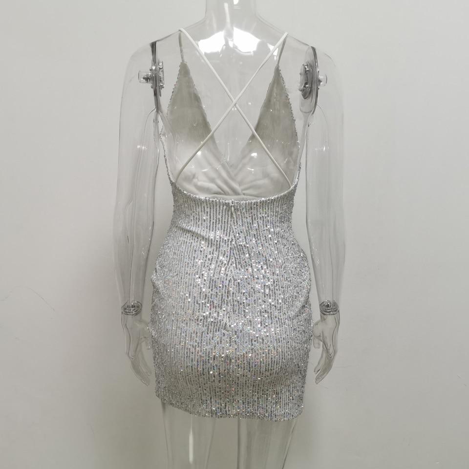 Sequin Cross Short Dress