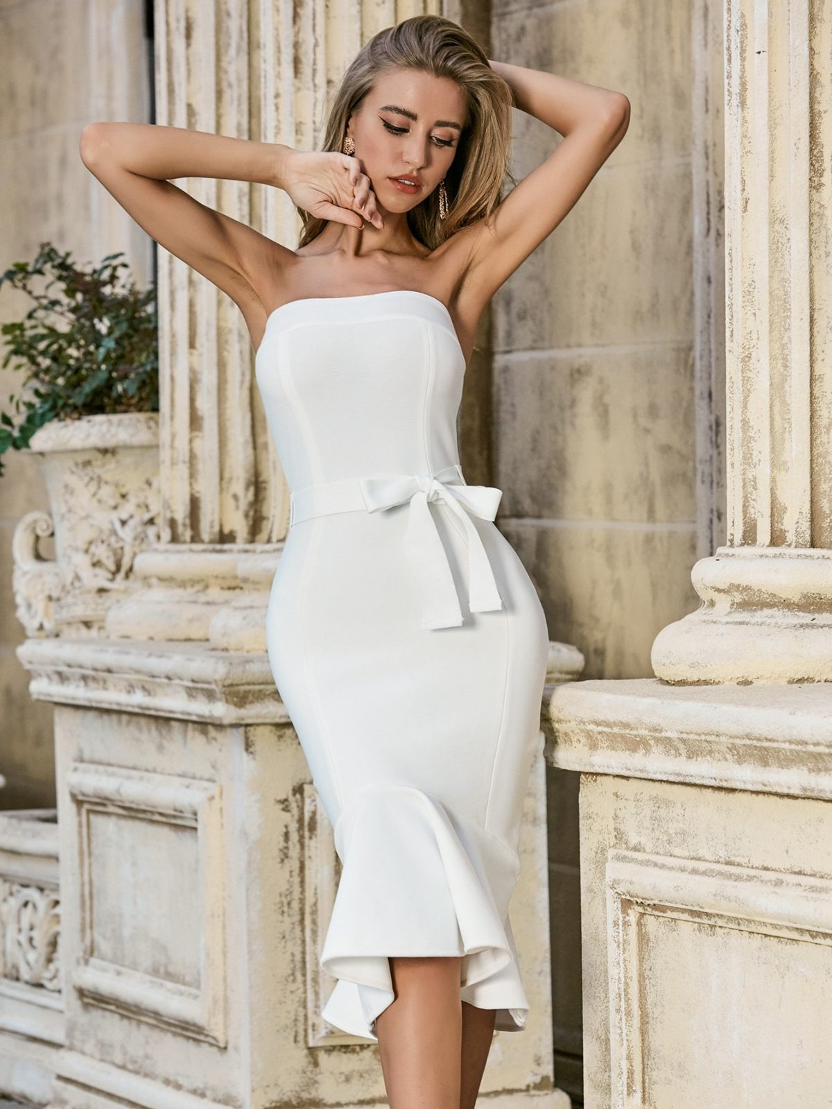 Sexy Strapless Backless Dress