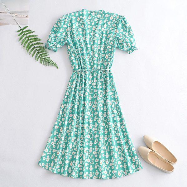 V Neck Floral Print Dress