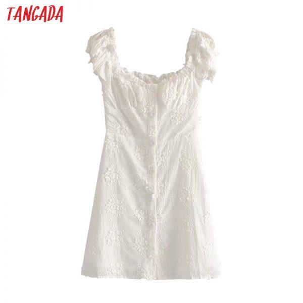 White Embroidery Cotton Dress