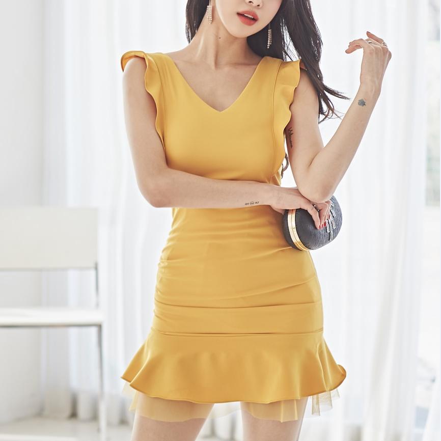 Yellow Mini Dress Club Dresses