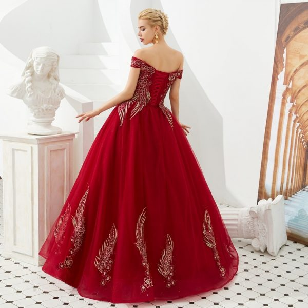 Wine Red Prom Dresses Ball Gown